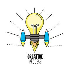 bulb with thrusters to creative process vector image