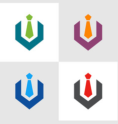 Business suit with tie logo template vector