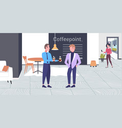 businessman giving coffee cup to his colleague vector image