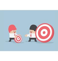 Businessman has bigger target than his friend vector
