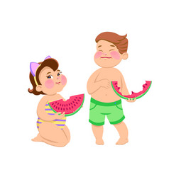 cartoon children eating watermelon vector image