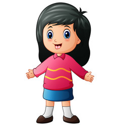 Cartoon little girl waving hands vector