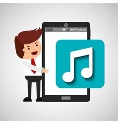 Cartoon man smartphone app music vector