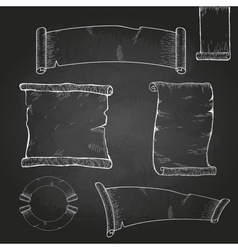 Chalk drawing Set of ribbons vector