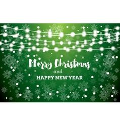 Christmas card with neon light bulbs vector
