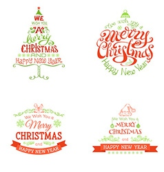 Christmas set of labels and emblems vector image