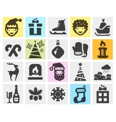 Christmas xmas set black icons signs and symbols vector image
