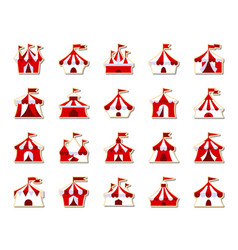 circus tent patch sticker icons set vector image
