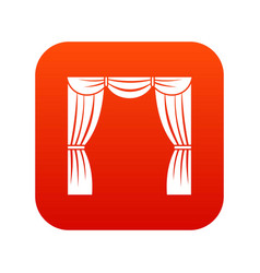 Curtain on stage icon digital red vector