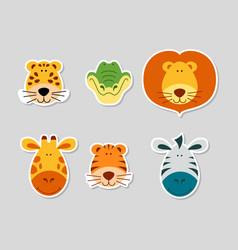 Cute cartoon animal faces set vector