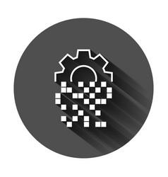 Digital gear icon in flat style cog on black vector