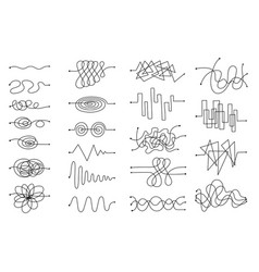 doodle sketch tangled arrow set in freehand black vector image