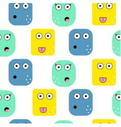 emoji faces seamless pattern vector image