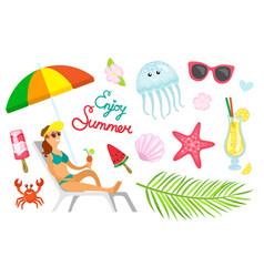 enjoy summer summertime vacation woman at beach vector image