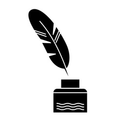 Feather with writing ink - literature icon vector