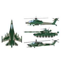 fighter aircraft tank helicopter cartoon vector image