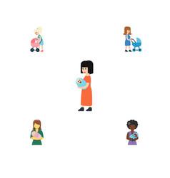 Flat icon parent set of baby perambulator woman vector