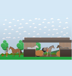 Flat of stable and people vector