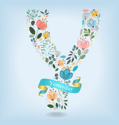 Floral letter y with blue ribbon vector