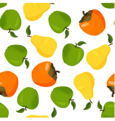 Fresh yellow pear persimmon and green apple vector
