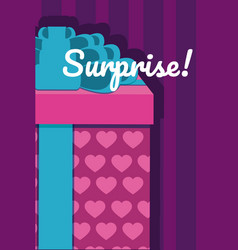 Gift box surprise card vector