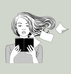 girl with flying hair reading a book holding in vector image
