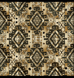 greek 3d textured seamless pattern gold black vector image
