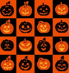 Halloween icon set of pumpkins vector image