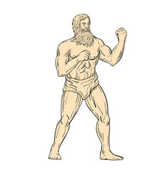 Hercules in boxer fighting stance drawing color vector
