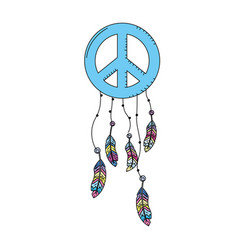 hippie emblem symbol with feathers design vector image