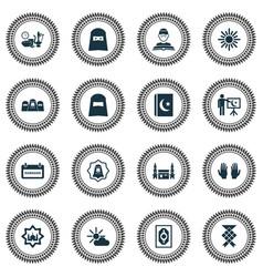 Holiday icons set with mecca islam book mubarak vector