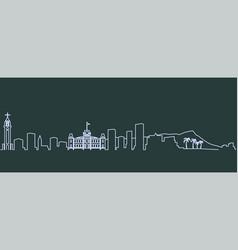 honolulu single line skyline vector image