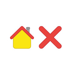 icon concept house with x mark vector image