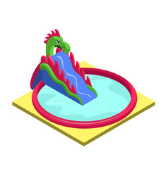 Inflatable slide in pool isometric 3d element vector