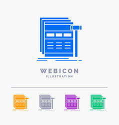 Internet page web webpage wireframe 5 color glyph vector