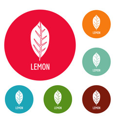 lemon leaf icons circle set vector image