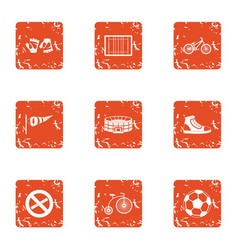 Lesson at stadium icons set grunge style vector