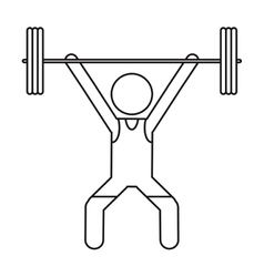 Man weight lifter sport athlete outline vector