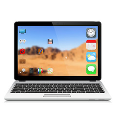 Modern laptop with user interface vector
