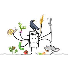 Multitasking cartoon farmer angry because vector