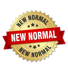New normal round isolated gold badge vector