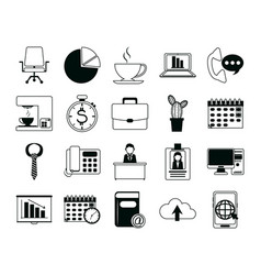 office supply stationery work business linear vector image