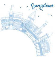 Outline georgetown skyline with blue buildings vector
