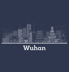 Outline wuhan china city skyline with white vector