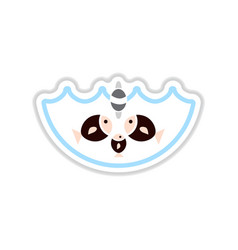 Paper sticker on white background fish water vector