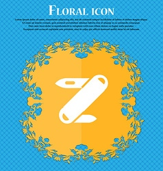 Pocket knife icon sign Floral flat design on a vector