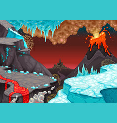 Prehistoric landscape with fire and ice vector