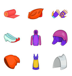 protect clothes icon set cartoon style vector image