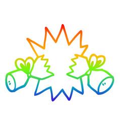 Rainbow gradient line drawing cartoon cracker vector