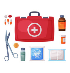 Red first aid kit box with medical equipment and vector
